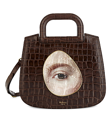 MULBERRY Brimley croc-embossed leather satchel bag (Brown