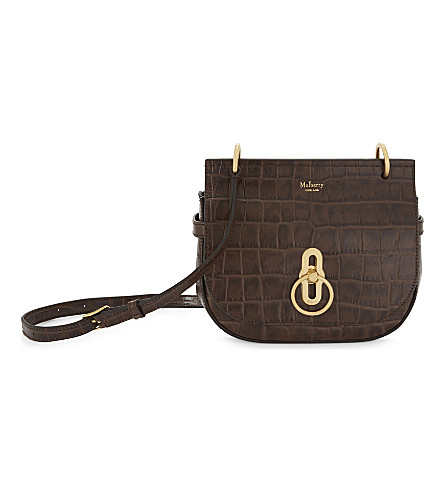 MULBERRY Amberly crocodile-embossed leather cross-body bag (Dark+brown