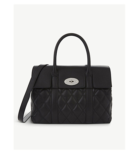 MULBERRY Bayswater quilted small shoulder bag (Black-silvertoned