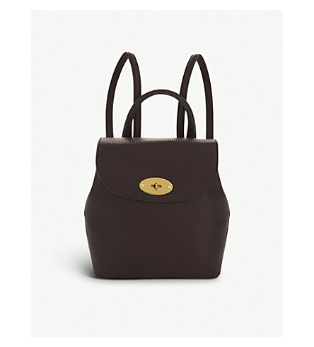 MULBERRY Mini Bayswater grained leather backpack (Oxblood