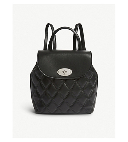 MULBERRY Mini Bayswater leather backpack (Black-silvertoned