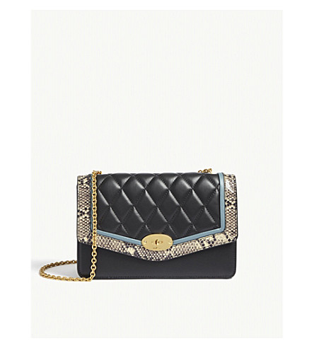 MULBERRY Darley quilted snake-embossed leather shoulder bag (Blk+cream+drk+frozen