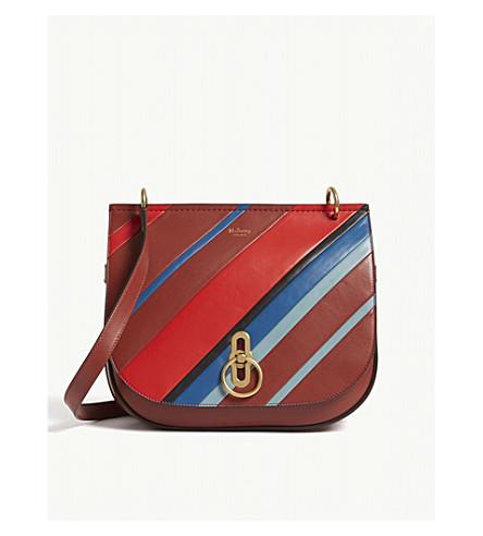 MULBERRY Amberley medium striped leather satchel (Brick