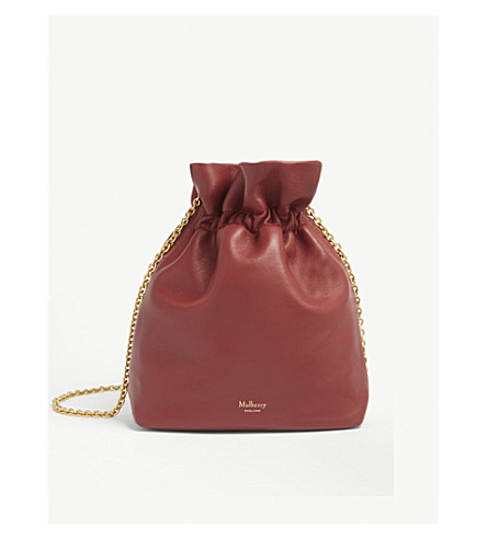 MULBERRY Lynton mini leather bucket bag (Antique+ruby