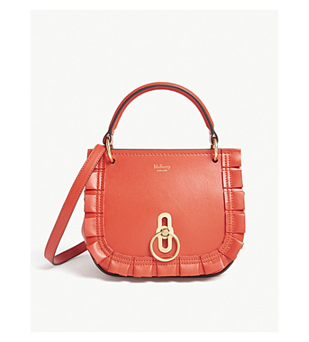 MULBERRY Amberley pleated leather satchel bag (Lipstick+red