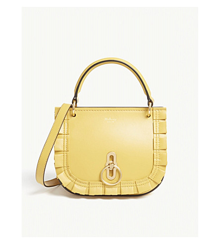 MULBERRY Amberley pleated leather satchel bag (Earth+yellow