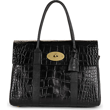 MULBERRY Bayswater mock-croc handbag (Black
