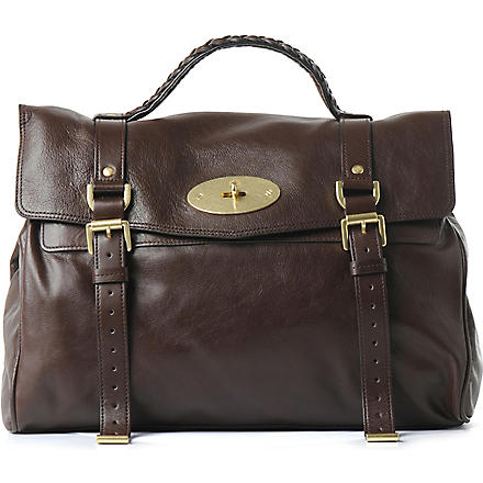 MULBERRY Alexa oversized buffalo leather satchel (Chocolate