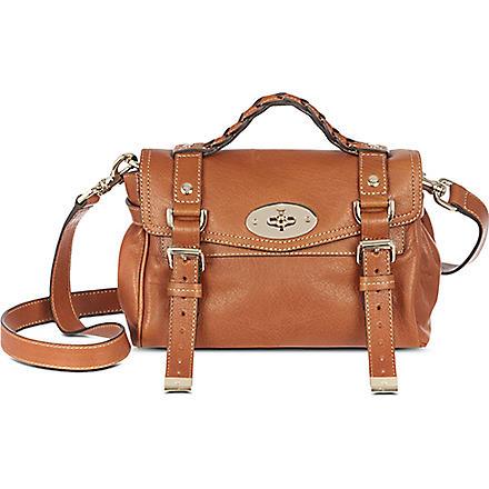 MULBERRY Alexa mini polished leather satchel (Oak/gold