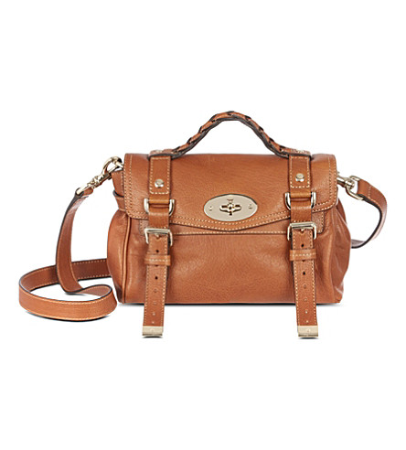 MULBERRY Alexa mini polished leather satchel (Oak/gold