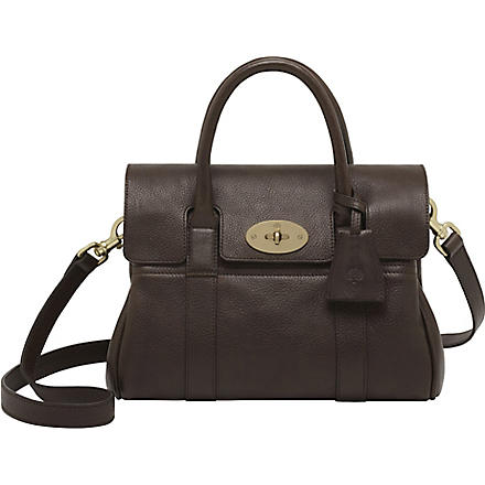 MULBERRY Bayswater small natural leather satchel (Chocolate