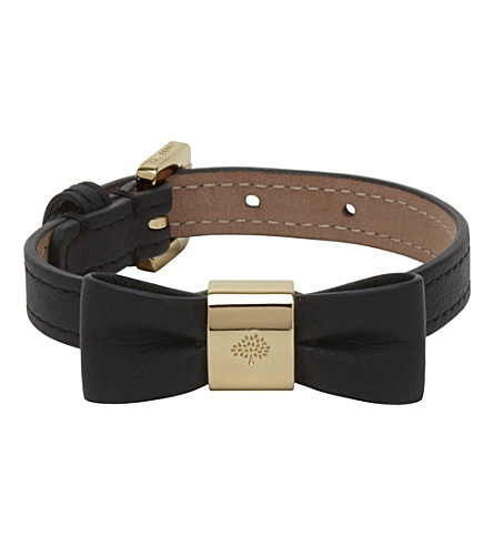 MULBERRY Leather bow bracelet (Black