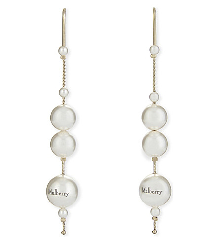 MULBERRY Long mother of pearl earrings (Pearl