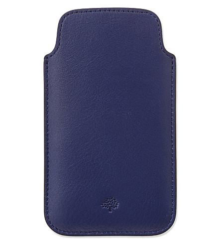 MULBERRY Velvet calf leather iPhone cover (Indigo
