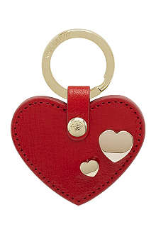 MULBERRY Leather heart rivet keyring
