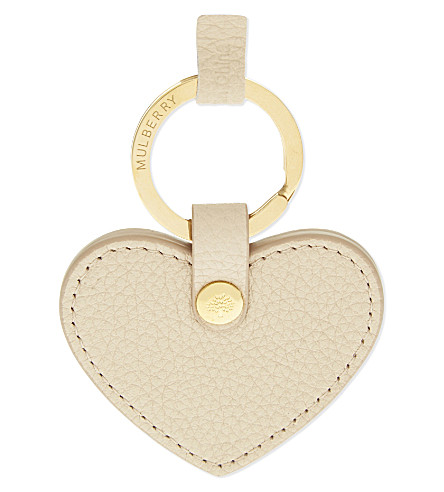 MULBERRY Leather heart keyring (Powder