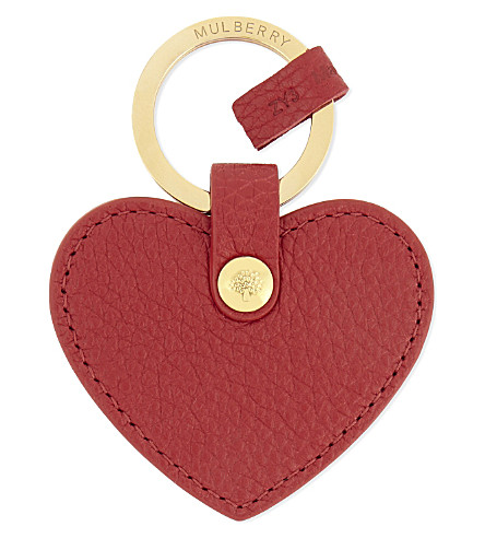 MULBERRY Leather heart keyring (Scarlet