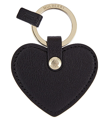 MULBERRY Heart leather keyring (Black