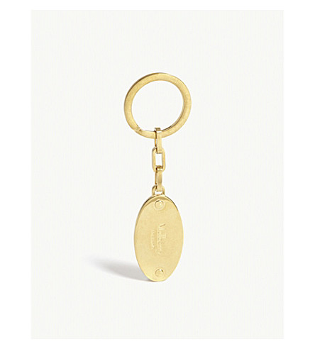 MULBERRY Oval metal plaque key ring (New+brass