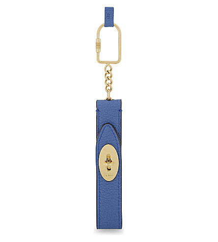 MULBERRY Looped Darley leather keyring (Porcelain+blue