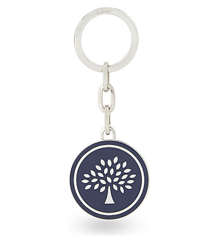 MULBERRY Tree motif round keyring (Navy