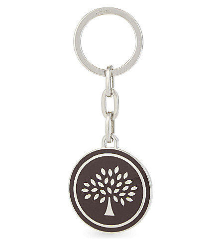 MULBERRY Tree medal enamel key ring (Burgundy