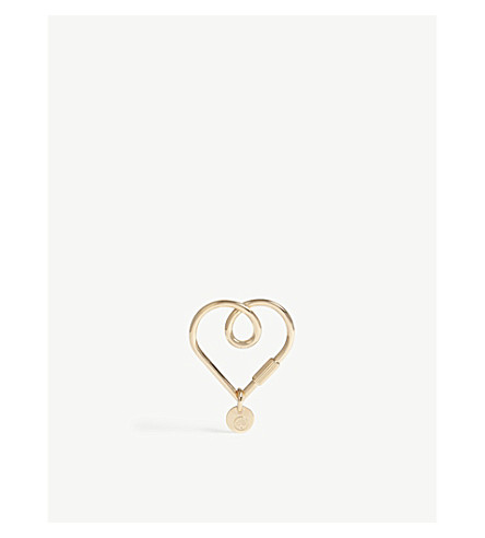MULBERRY Looped Heart metal keyring (Rose+gold