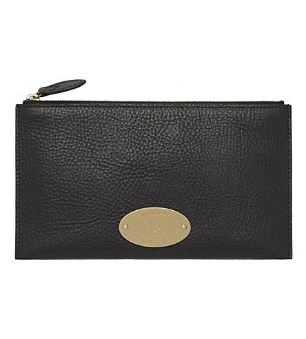 MULBERRY East West natural leather pouch (Black