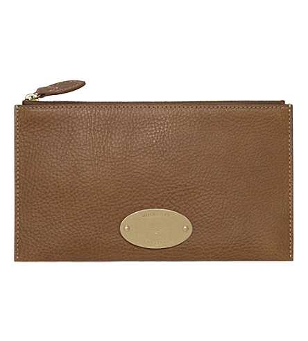 MULBERRY East West natural leather pouch (Oak