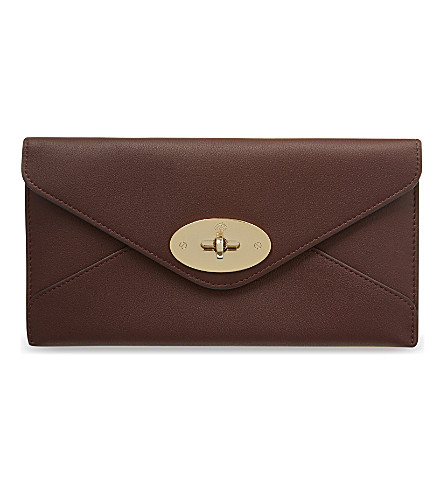 MULBERRY Silky leather envelope wallet (Oxblood