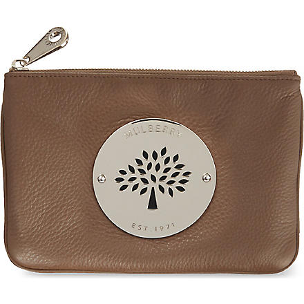 MULBERRY Daria top zip leather pouch (Taupe