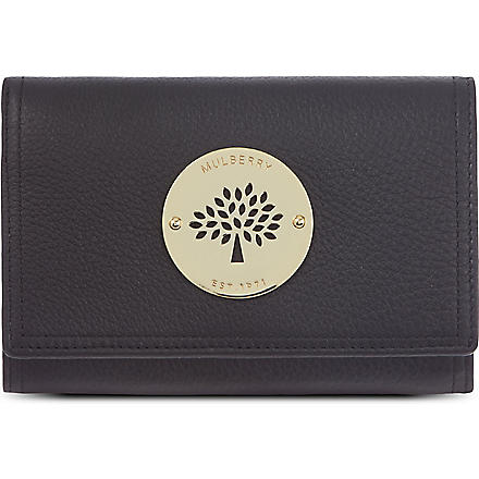 MULBERRY Daria pebbled leather French purse (Black