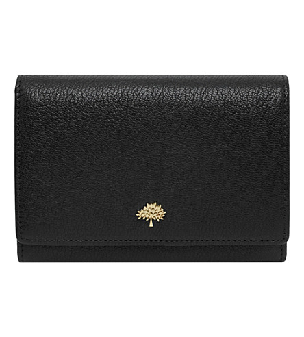 MULBERRY Tree glossy goat leather French wallet (Black