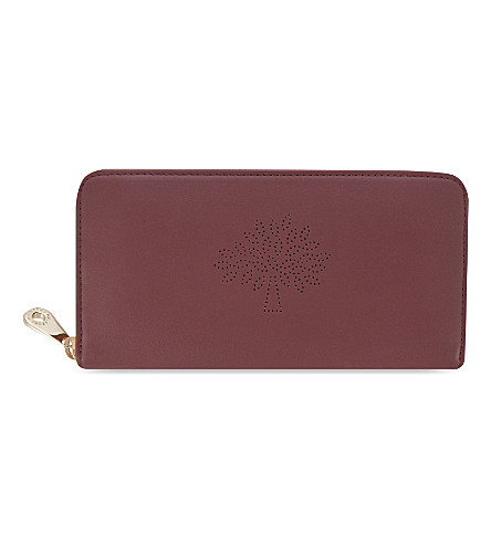 MULBERRY Blossom zip-around calf leather wallet (Oxblood