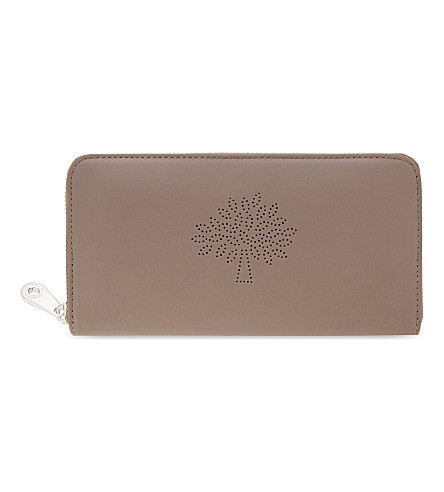 MULBERRY Blossom zip-around calf leather wallet (Taupe