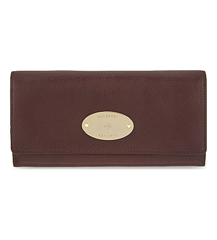 MULBERRY Grained leather continental wallet (Oxblood