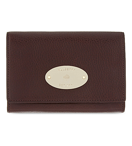 MULBERRY Grained leather French purse (Oxblood