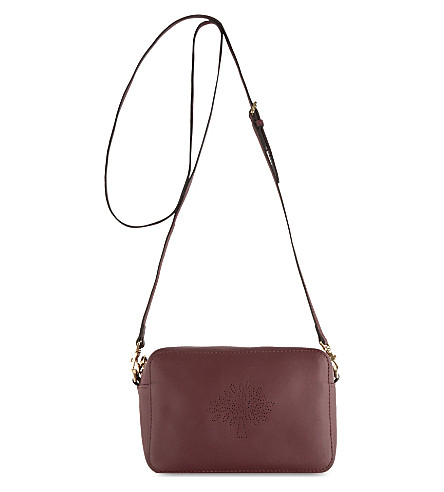 MULBERRY Blossom leather pochette (Oxblood