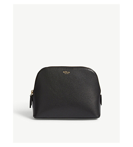 MULBERRY Logo grained leather cosmetic pouch (Black
