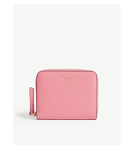 MULBERRY Fluoro leather zip-around purse (Fluro+pink