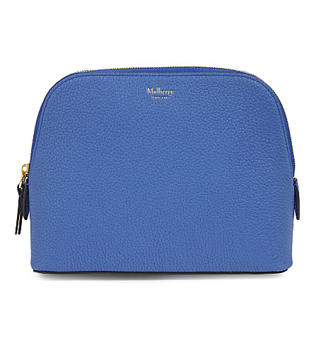 MULBERRY Leather cosmetics pouch (Porcelain blue