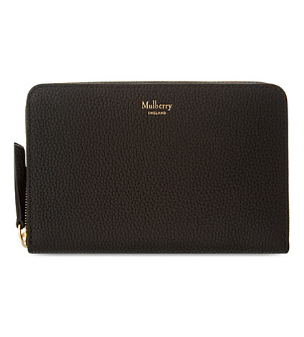 MULBERRY Grained leather zip-around wallet (Black