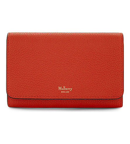 MULBERRY Grained leather medium continental wallet (Fiery red