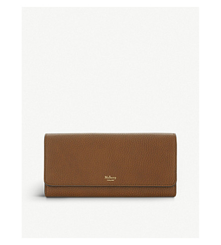 MULBERRY Grained leather continental wallet (Oak