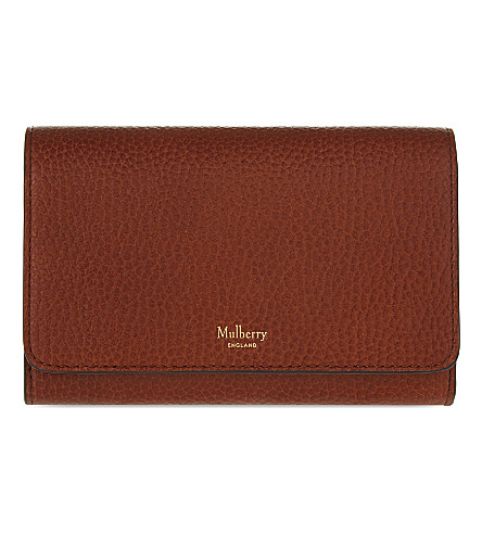 MULBERRY Continental medium grained leather wallet (Oak