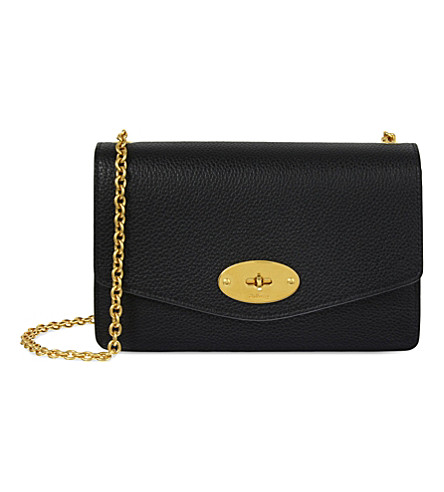 MULBERRY Darley small grained leather wallet-on-chain (Black