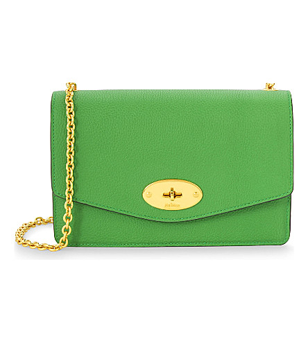 MULBERRY Darley small grained leather wallet-on-chain (Grass green
