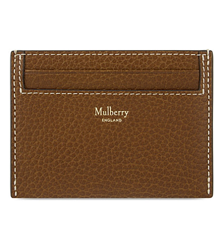 MULBERRY Grained leather card holder (Oak