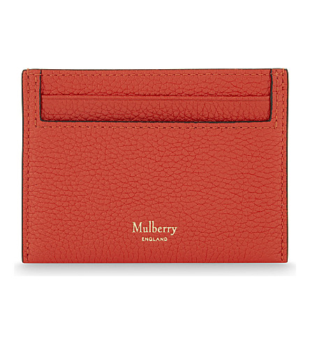 MULBERRY Grained leather card holder (Fiery+red