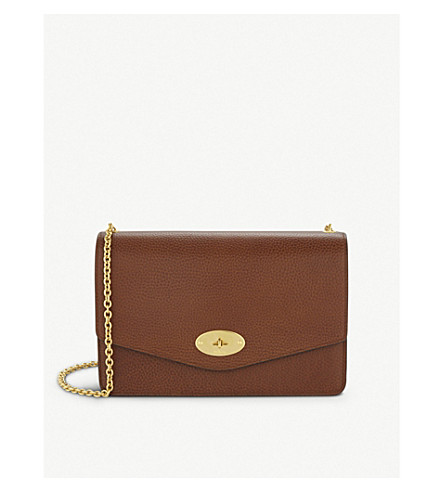 MULBERRY Darley large leather clutch (Oak